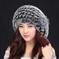 Шляпы Для Женщин 2017 Натуральный Мех Берет Подлинная Рекс Кролика меховая Шапка Вязаные Шапки Для Зимних Женская Мода Теплый Женщин Caps