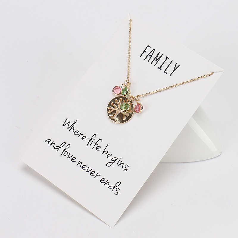 MEIBEADS minimalistyczny drzewo życia Charms naszyjniki Birthstone koraliki życzenie karty naszyjniki dla kobiet dziewczyny lato Party biżuteria CN37