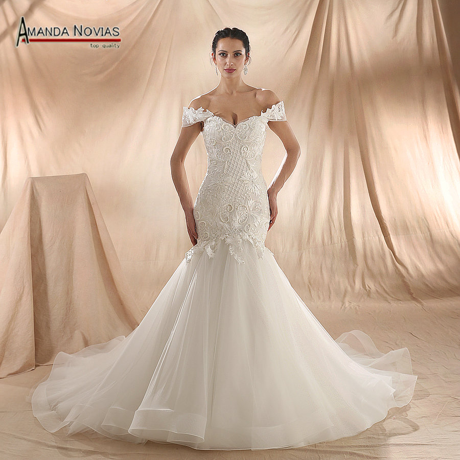 Mermaid Lace Wedding Gown: Amanda Novias 2018 New Model Mermaid Wedding Gown Beading