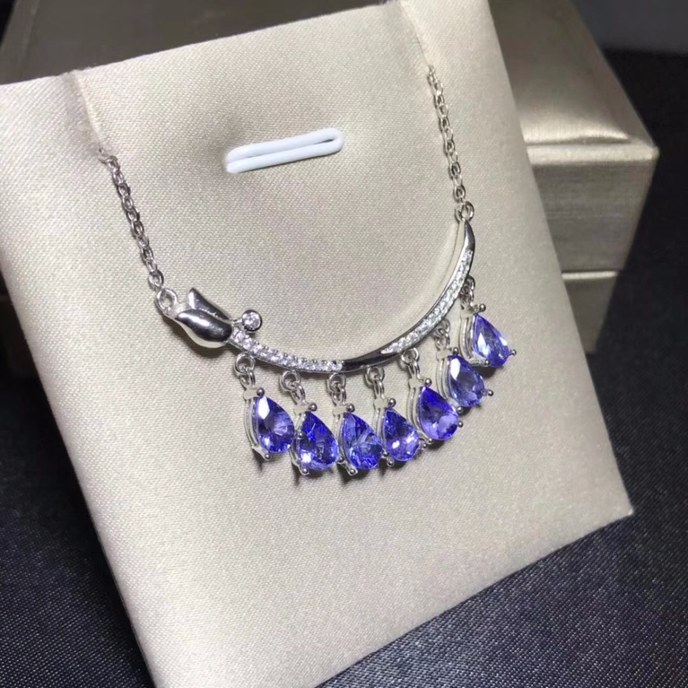 Natural tanzanite necklace, blue gemstone, sterling silver, heart-shaped style, super beautiful