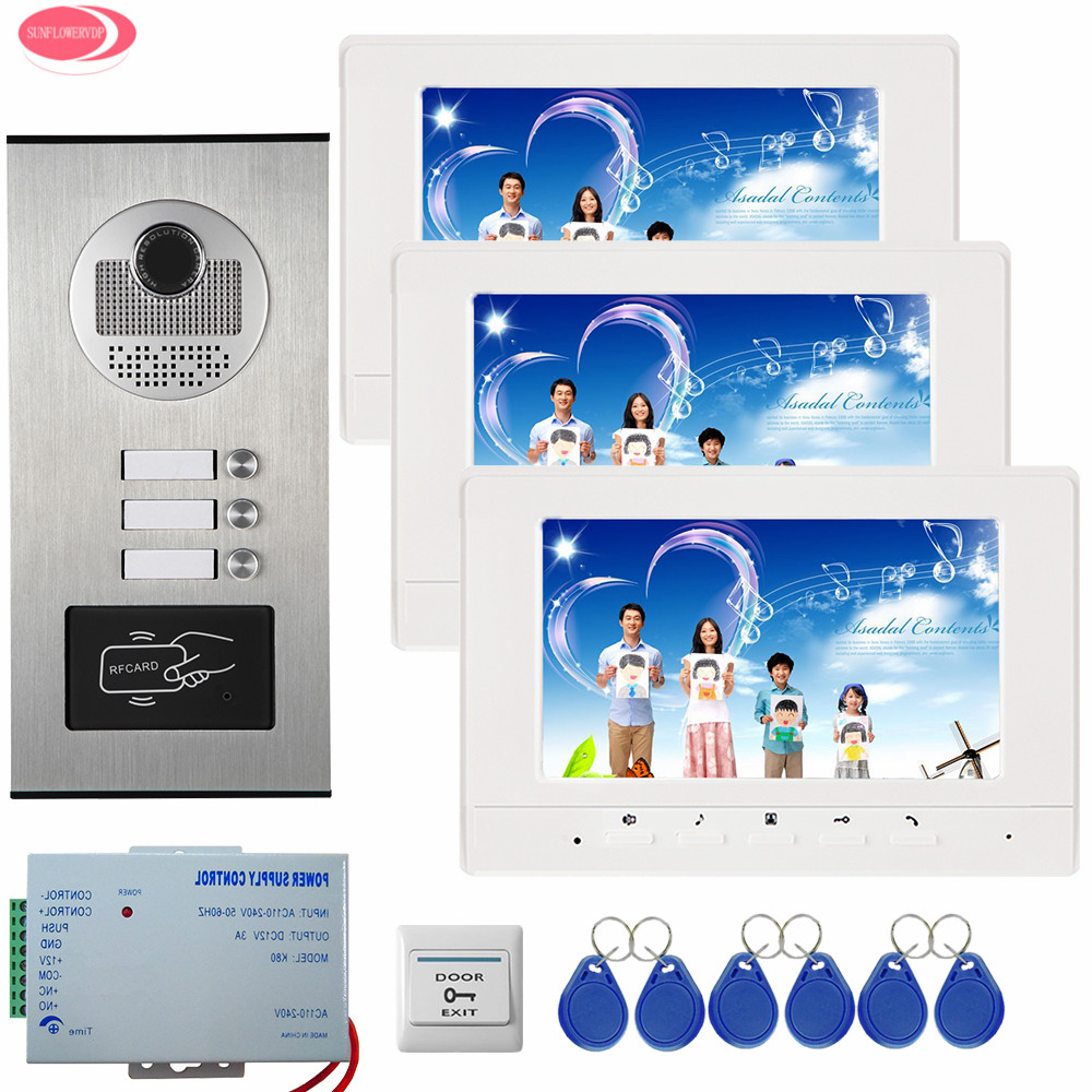 3 Apartment 7Inch Color Video Door Phone Intercom System 3 White/Black Monitor + Waterproof RFID Access Door Camera Videophone