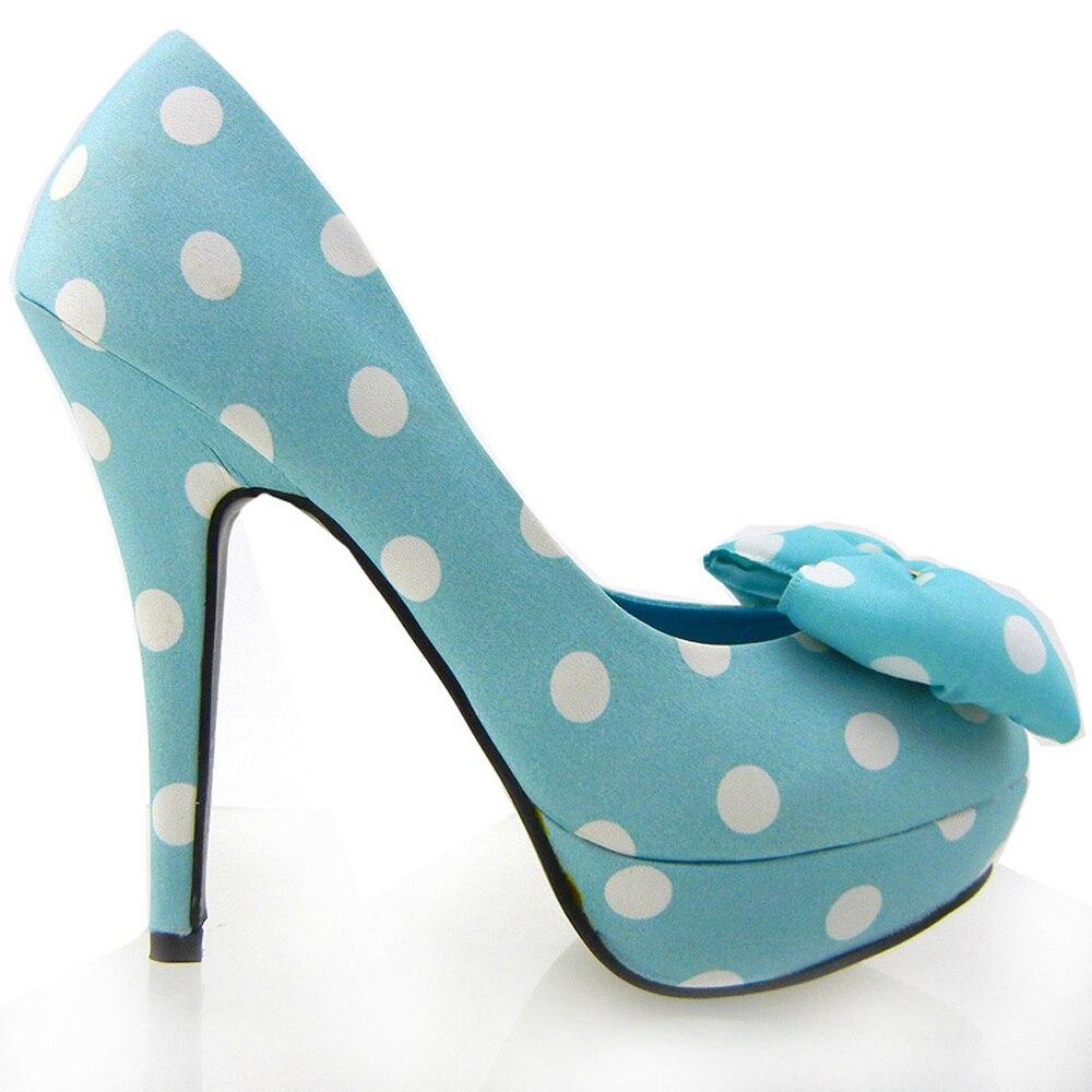 LF30406-2 Ladies Cute Bow Satin Polka Dot Party/Club Platform High Heels Pumps Court Shoes