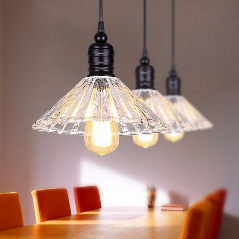 ФОТО Lamp Pendant Lights Contemporary Style Industrial Light Loft Retro Nostalgia Lamp Cafe-bar LED Glass Crystal Pendant Lamp