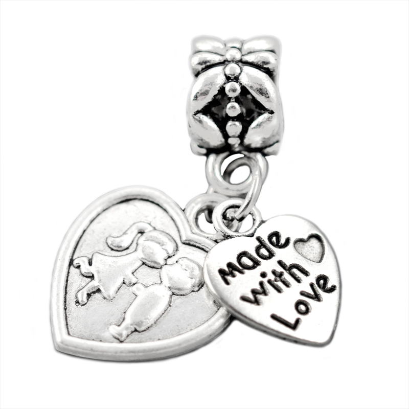 Silver Plated Charm Beads,Made With Love&Lover Kiss Pendant Fit Pandora Charms Bracelets&Bangle,Jewelry Making ,SPP059