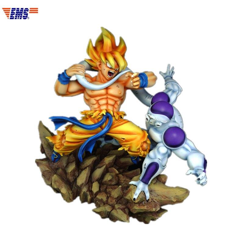 GK 1/6 Dragon Ball Super Saiyan Goku Frieza VS Long-tail G1684 Estátua de Resina Artigos de decoração Para Casa