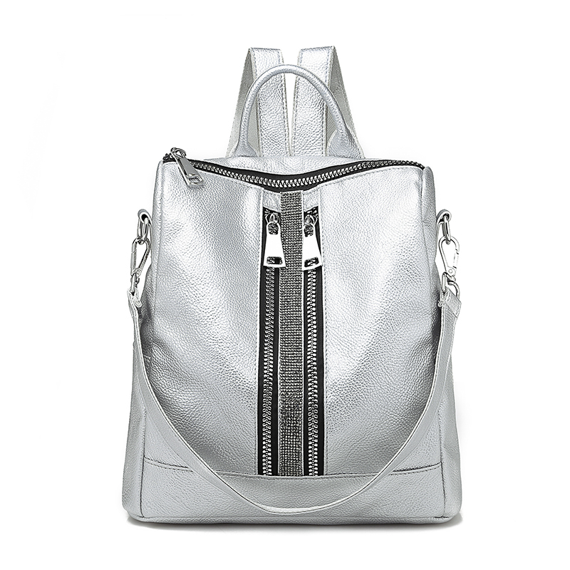 New Zipper Women Backpack Travel Stripe Small Backpacks Pu Leather Waterproof Totes Luxury Shoulder Bag Women's Daypacks Silver
