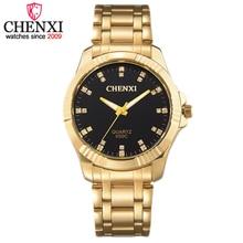 CHENXI Marca de Moda de Lujo de Oro de Cuarzo de Acero Inoxidable Reloj de Los Hombres Classic Delicada Decoración Rhinestone Reloj Relogio Masculino