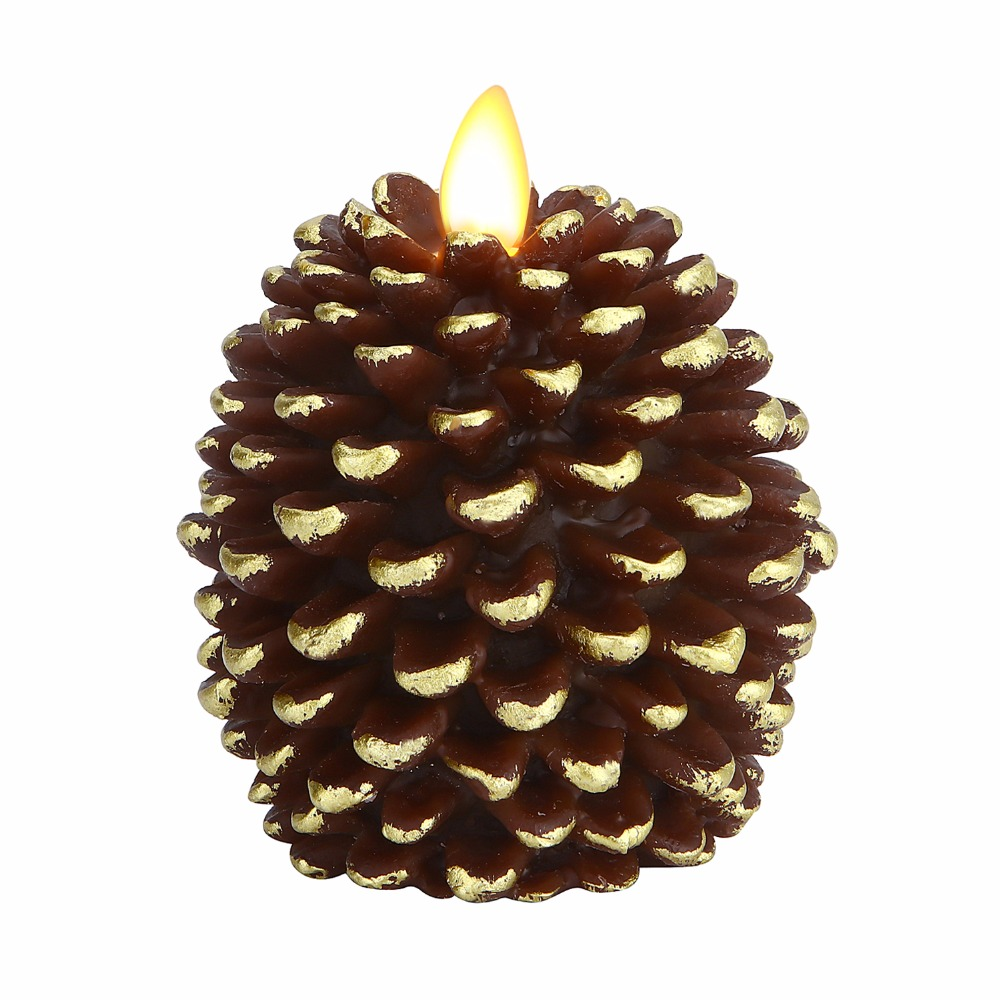 Ksperway Unscented Real Wax  Flameless Pinecone Candle With Movign Wick Brown 3*4 Inch