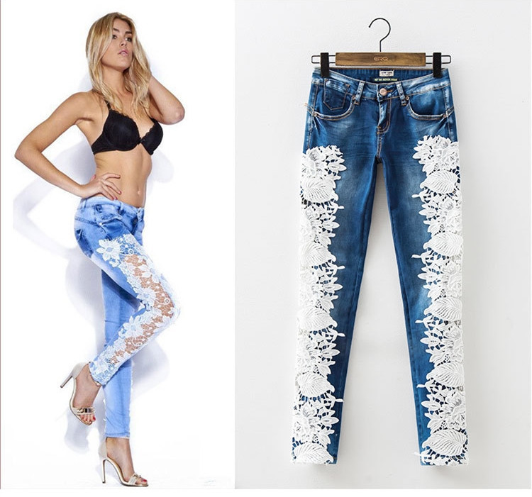 New fashion hollow out lace full length pencil pants mid waisted patchwork skinny women jeans trousers leggings plus size womans hollow out lace patchwork plain designed casual pants