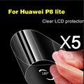 5 unidades de ultra thin rasguño anti claro protector de pantalla para huawei p8 lite top quanlity película protectora resistente al agua