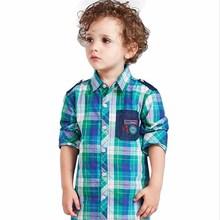Autumn New Fashion Cotton Boys Plaid Shirts Causal Broadcloth Full Sleeve Regular Turn-down Collar Kids Shirts Boys Blouse ss004