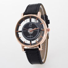 Sizzling Sale Vogue Hole Rose Gold PU Leather-based Quartz Wrist Watch Wristwatches for Girls Males Black Brown Excessive High quality