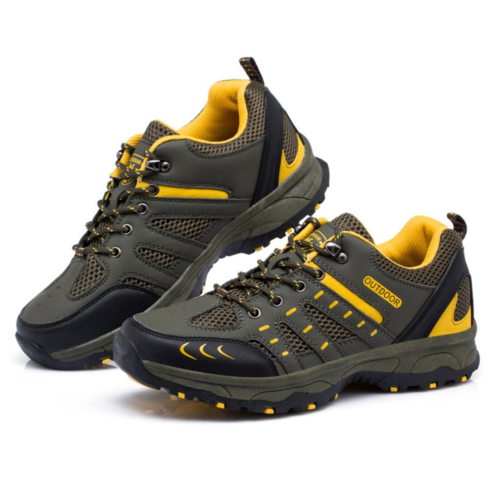 Men Outdoor Climbing Shoe Breathable Hiking Shoes Antiskid Travel Wearable Sport Shoes Lightweight Jogging Lace-Up Shoe Male breathable lace up men outdoor hiking shoes