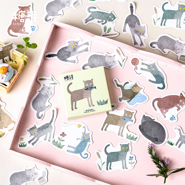 Smart Cat Animal Decorative Stickers Adhesive Stickers DIY Decoration Diary Stickers Box PackageSmart Cat Animal Decorative Stickers Adhesive Stickers DIY Decoration Diary Stickers Box Package