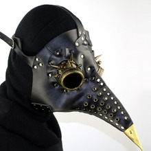 Leather Long Nose Bird Plague Doctor Mask Retro Steampunk Cospaly Halloween Gothic Black