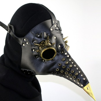 Leather Plague Doctor Mask Retro Steampunk Beak Doctor Mask Long Nose Cospaly Halloween Gothic Beak Mask Black