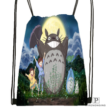 Custom My Neighbor Totoro Drawstring Backpack Bag Cute Daypack Kids Satchel (Black Back) 31x40cm#180531-04-32