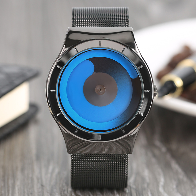 item trending belt wrist watches dial creative casual turntable stainless quartz steel hour sports unique mesh mens