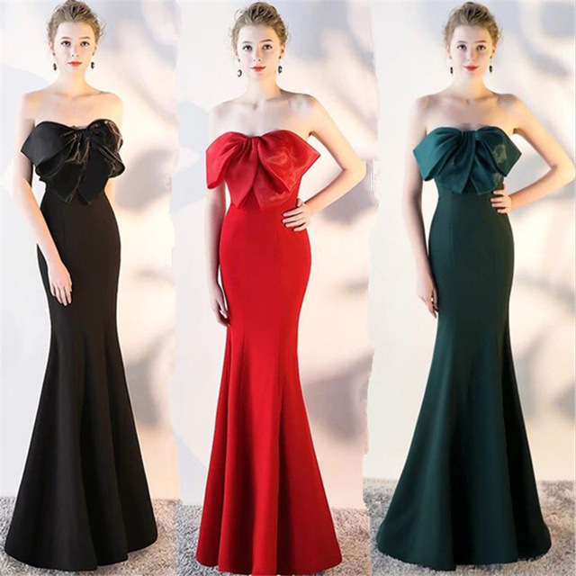 de829dbb5a US $98.42 5% OFF|2018 Vintage Sleeveless Big Bow Prom Dress Self  cultivation Superior Velour Evening Dres Floor length Simple Mermaid Prom  Gowns-in ...