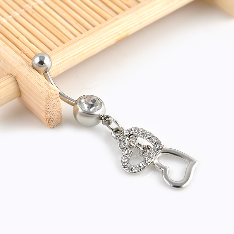 HTB1wht_JFXXXXadXXXXq6xXFXXXX Stunning Silver Crystal Double Hearts Dangle Navel Ring