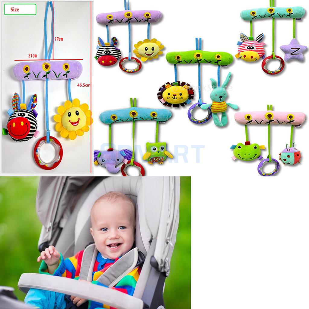 Newborn Baby Handkerchief Toys Bed Hanging Plush Rattle Teether Ring Play Toys