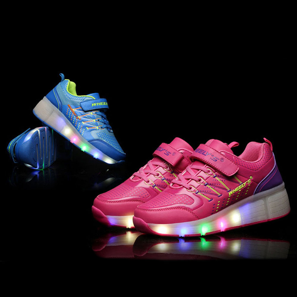 Kids Shoes Glowing Sneakers With Led Lights Children Wheels Roller Skate Light Up For Boys S Zapatillas In From Mother