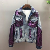 Streetwear Purple Cool Spliced Jean Jacket Women 2019 Sequin Denim Jacket Turn Down Collar Harajuku Casual Loose Jackets