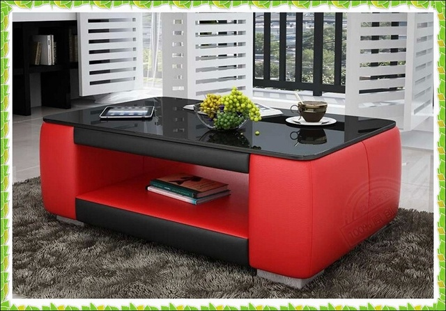 Exceptionnel Luxury Red Black Leather Table With Storage Area Hot Selling