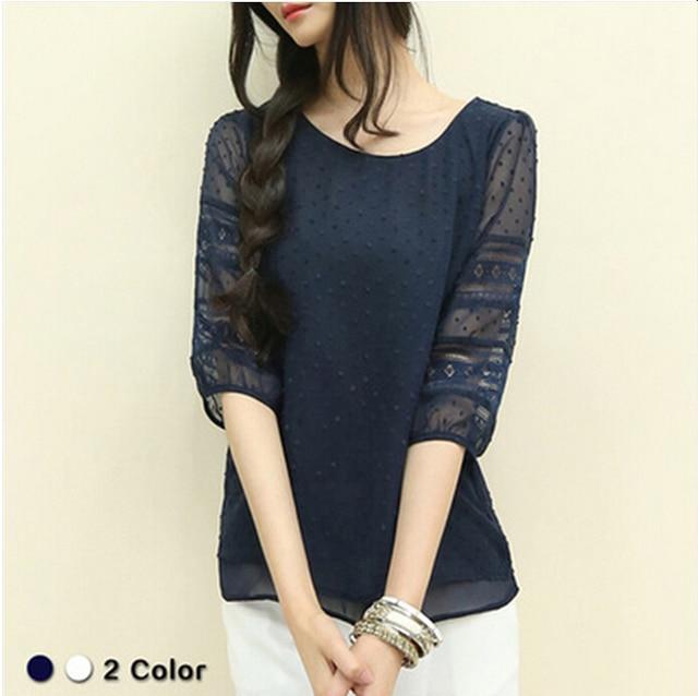 Summer Chiffon blouse women Hollow Half sleeve shirt Plus Size Casual ladies Tops shirt women blusas blusa feminina S-5XL 2
