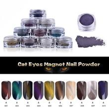 1 Sponge Stick +1 Bottle Cat Eyes Glitter Magnet Nail Powder Magic Magnetic Glitter Dust UV Gel Manicure Nail Art Pigment Powder