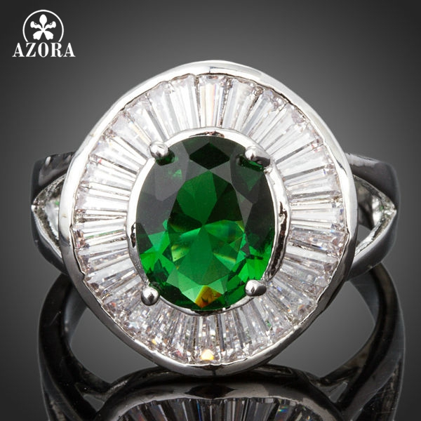 AZORA Brand Design Big Oval Green Cubic Zirconia Bezel Setting Ring TR0124 ...