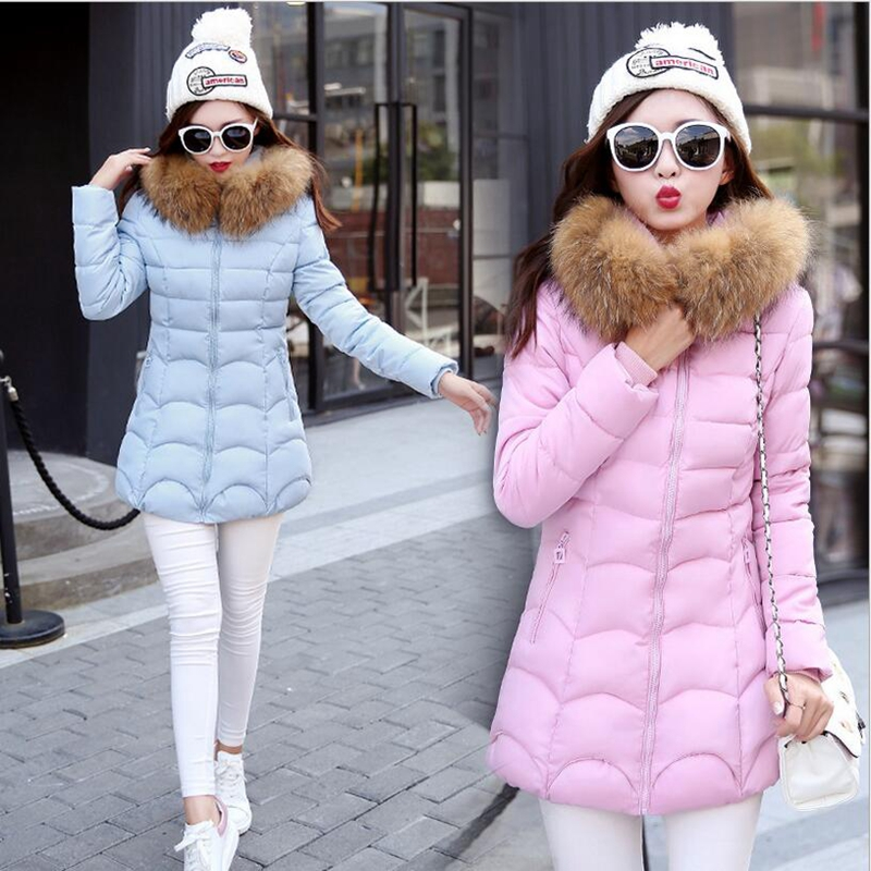 ФОТО 2017 Autumn Winter Basic Casual Brand Women Fur Collar  Coat Hooded Outwear Warm Parka Woman Long Wadded-Padded  Jacket P942