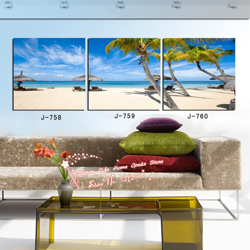 Modern Wall Art Home Decoration Printed Oil Painting Pictures 3 Piece Beautiful Hawaii Beach Umbrella Coconut Trees Landscapes