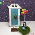 1:12 Escala Miniaturas Glitter Azul Diente De Madera Puerta De Hadas de Hadas Jardín