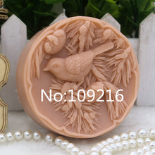 New Product!!1pcs Bird with Pine Tree Branch(zx280) Food Grade Silicone Handmade Soap Mold Crafts DIY Mould