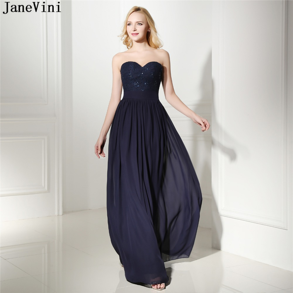 JaneVini Vintage Navy Blue A Line Long Bridesmaid Dresses Sweetheart Sleeveless Sequined Chiffon Formal Prom Gowns Floor Length