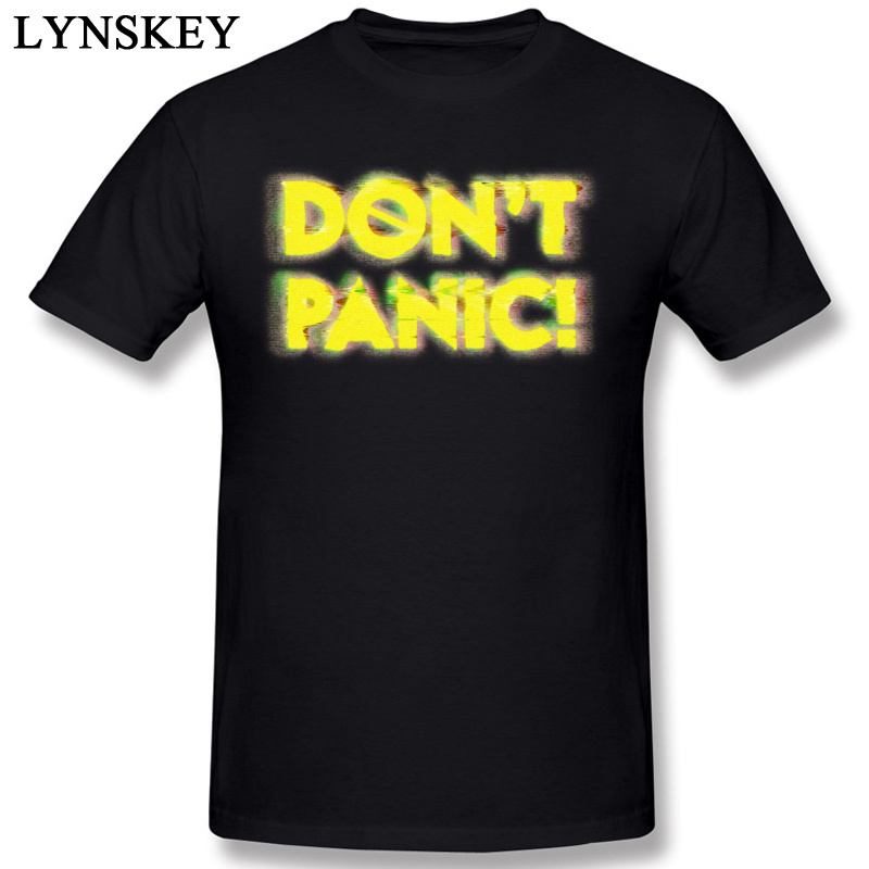 Free Shipping 2017 Fashion Yellow Letters DONT PANIC Printing T Shirt New Art Design Short Sleeve Casual Homme Tee Shirts