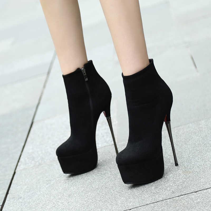 MORAZORA 2019 wiosenne damskie jesienne botki okrągłe Toe 16cm szpilki Stiletto buty na platformie Sexy Ladies botki modne buty