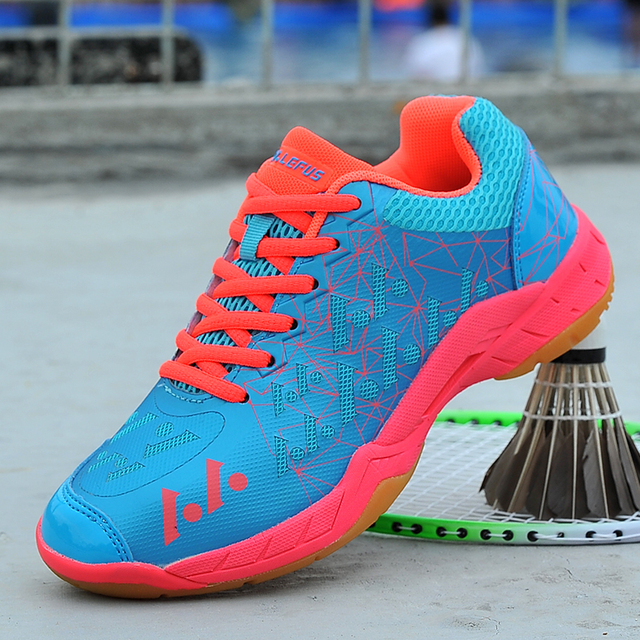 44ce4a5f3 Couples Badminton Shoes Spring Autumn Mens Indoor Sneakers Rose Red Sky  Blue Women Trainers Shoes Comfortable Athletic Shoes
