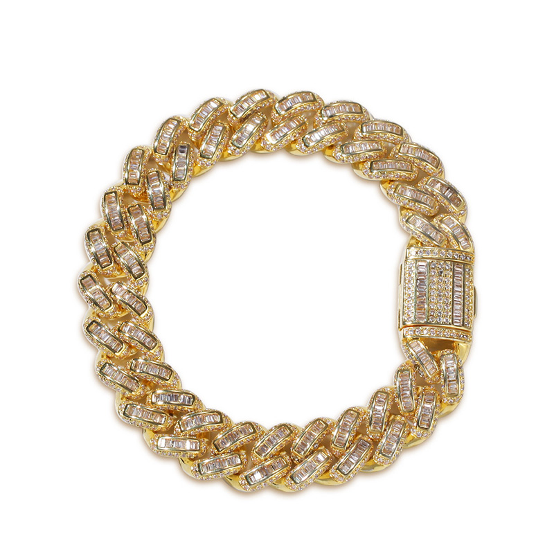Micro Paved AAA Cubic Zirconia Miami Curb Cuban Chain Bracelet For Men Hip Hop Bling Iced