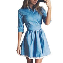 e247309f3d 2018 jesień zima nowe mody kobiety Denim sukienka z długim rękawem Casual  wąskie sukienki w stylu Vintage pracy odzież Vestidos