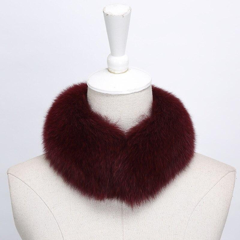 New Winter Fur Collar Elegant Solid Snud For Women LIC 100% Real Fox Fur Scarves Female Soft Warm Scarf Luxury Brand Ring Stole
