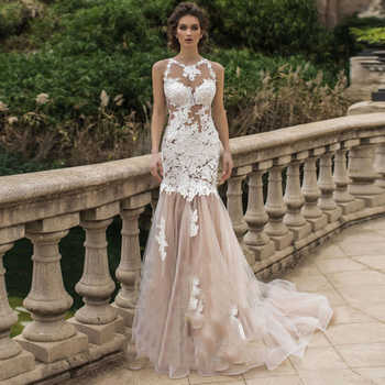 Sexy Mermaid Appliques Wedding Dresses 2019 Lace Light Champagne Tulle O Neck See Through Bride Gowns vestido noiva with Train - DISCOUNT ITEM  25% OFF All Category