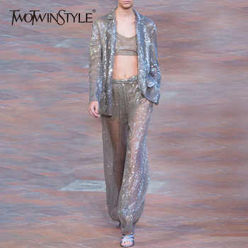 TWOTWINSTYEL Sequins Women's Suits Long Sleeve Blazer Coat Tops Female High Waist Wide Leg Pants Two Piece Set 2019 Summer New - DISCOUNT ITEM  50% OFF All Category
