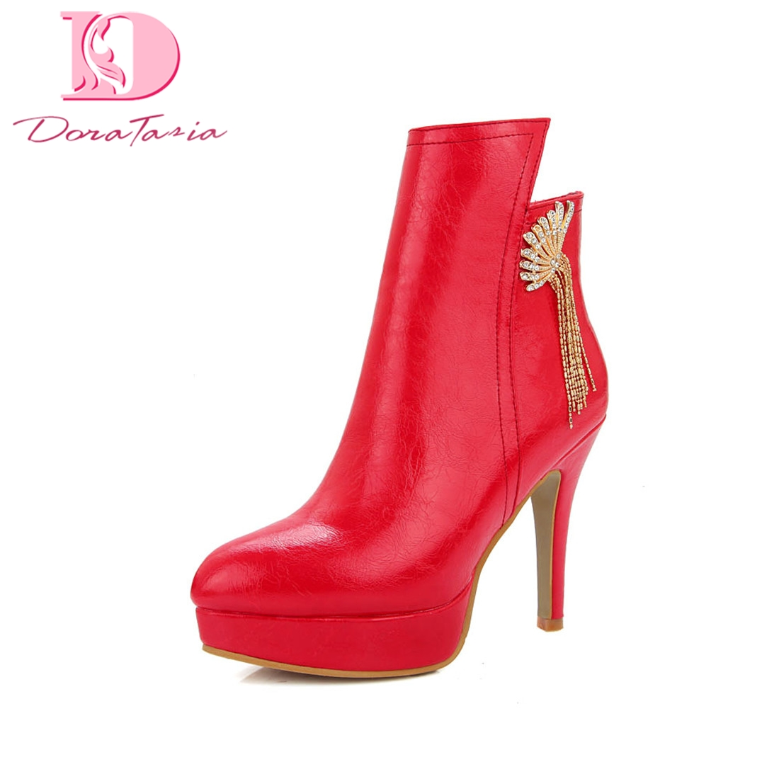 Doratasia Plus Size 32-46 Platform Zip Up party Boots Woman Shoes Hot Sale High Heels Dropship Ankle Boots Female Shoes Woman plus size light up cosplay party skirt