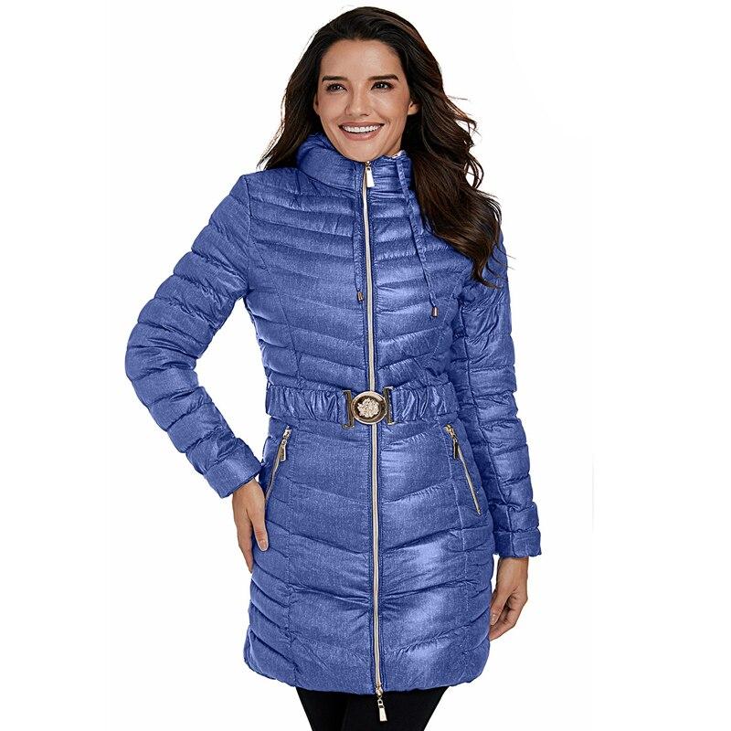 2018 модное женское синее длинное зимнее пальто с капюшоном на молнии повседневное женское теплое пальто LC0001