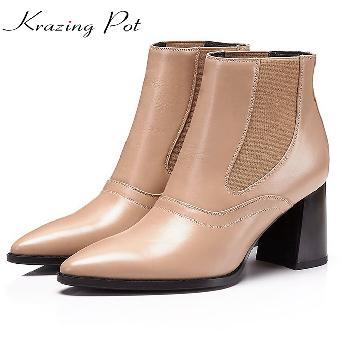 Krazing pot Cow leather solid pointed toe high heels Chelsea boots runway winter shoes classics office lady nude ankle boots L05 krazing pot cow suede real leather autumn winter pointed toe buckle thick high heels women office lady tassel ankle boots l05