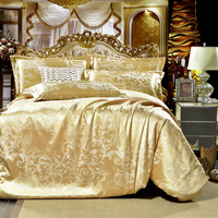 Classic Satin Jacquard Gold Bedding Set Bed Linen Duvet Cover Set 4pcs King Queen Size Comforter
