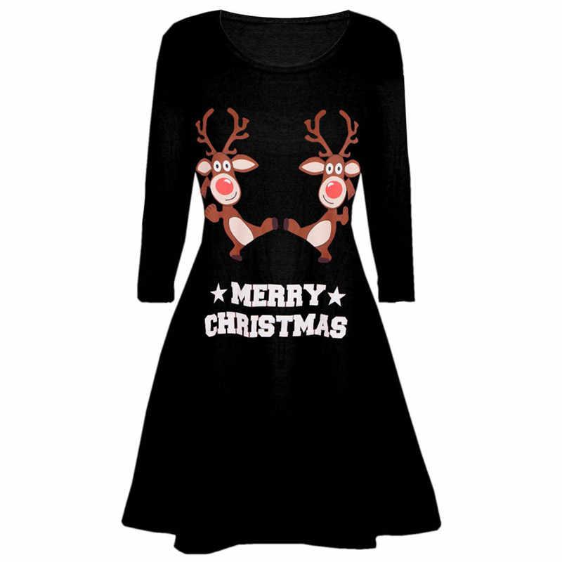 1eb9066d626 Новые Модные Винтажные элегантные Для женщин рождественские платья с  принтом дамы с длинным рукавом вечернее костюм