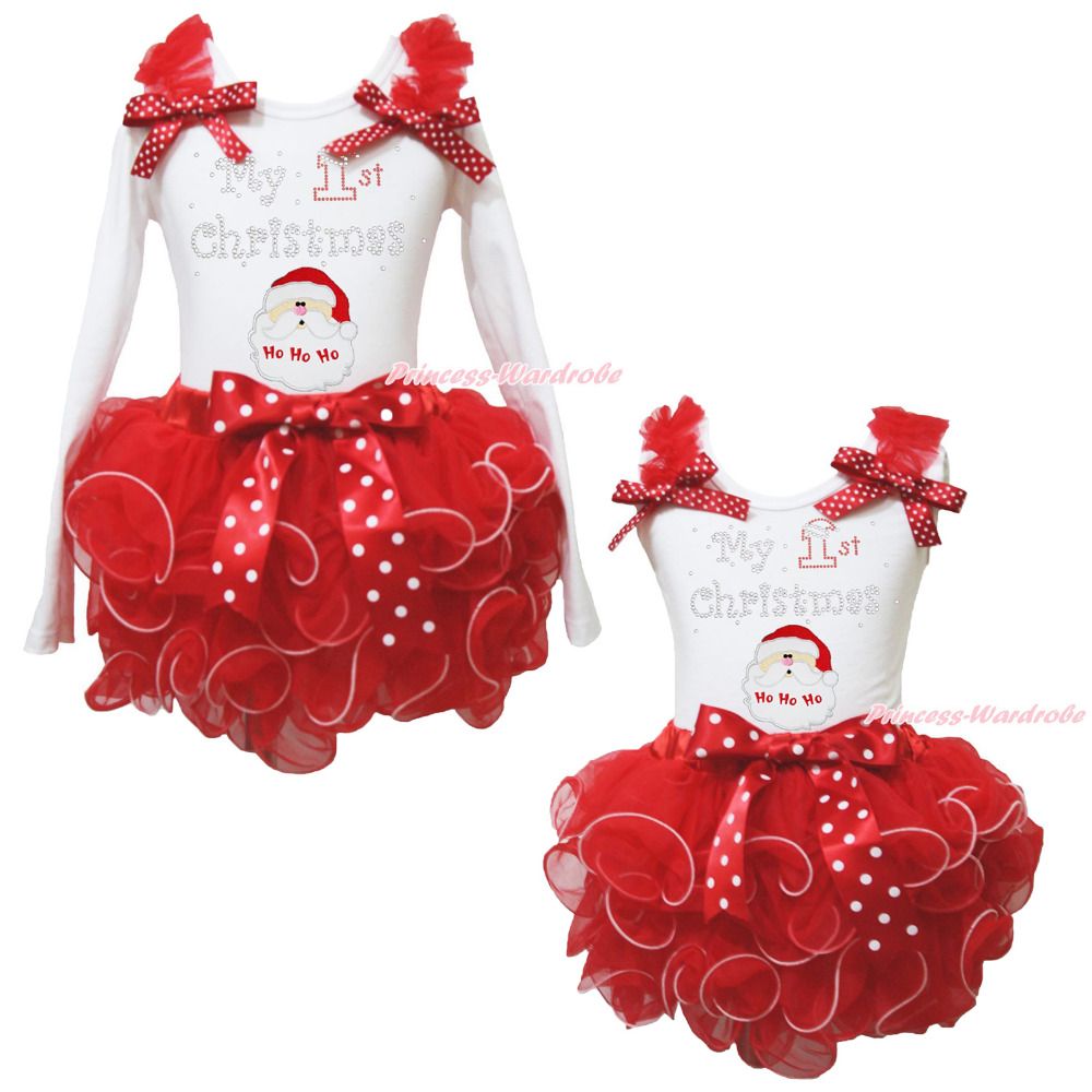 My 1ST Christmas Santa Claus White Top Red Petal Skirt Girls Outfit Set NB-8Year rhinestone my 1st christmas hat white top leopard minnie girls skirt outfit 1 8y